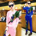 2016 Plus Size Girls Sport Suit Pullovers Tracksuits Women Sweatshirt Sequin Peacock Hoodies And Pants 2 piece set women