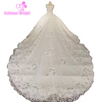 AOLANES Real Work Wedding Dresses Lace Crystals Ball Gown Champange Luxurious Lace Handworks Long Train Bridal