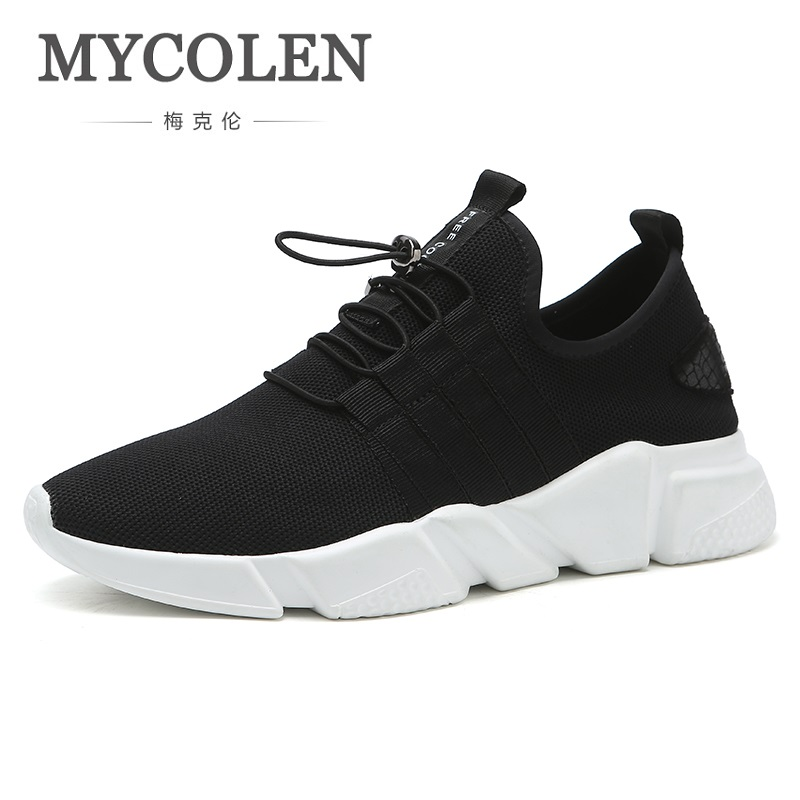 MYCOLEN 2018 New Arrivals Breathable Casual Shoes Men Walking Flexible Black Sneakers Net Surface Lace-Up Men Shoes Zapatilla glowing sneakers usb charging shoes lights up colorful led kids luminous sneakers glowing sneakers black led shoes for boys