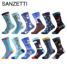 9cc0314114337 SANZETTI 12 pairs/lot Novelty Men's Casual Funny Socks Christmas Gifts  Combed Cotton Crew Crazy Party Dress Socks size US 7.5-12