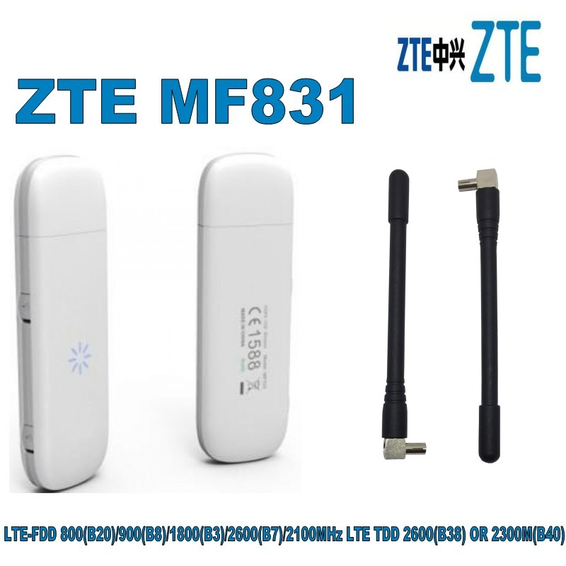 Hot Selling ZTE MF831 4G Dongle 2 External Antenna Port LTE USB Modem Plus 2pcs 4g Antenna