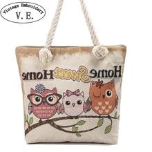 Owl Printed Women Shoulder Bag Casual Canvas Beach Bag Female Big Capacity Totes Lady Girl Handbag Casual Travel Shopping Bags недорого