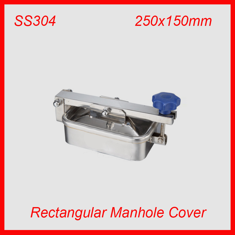 250x150mm SS304 Stainless Steel Rectangular Manhole Cover Manway tank door way 400mm round tank manway ss304 stainless steel non pressure manhole