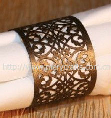 Popular design wedding party decoration eco-friendly laser cut pearl paper napkin rings for towel wrappers