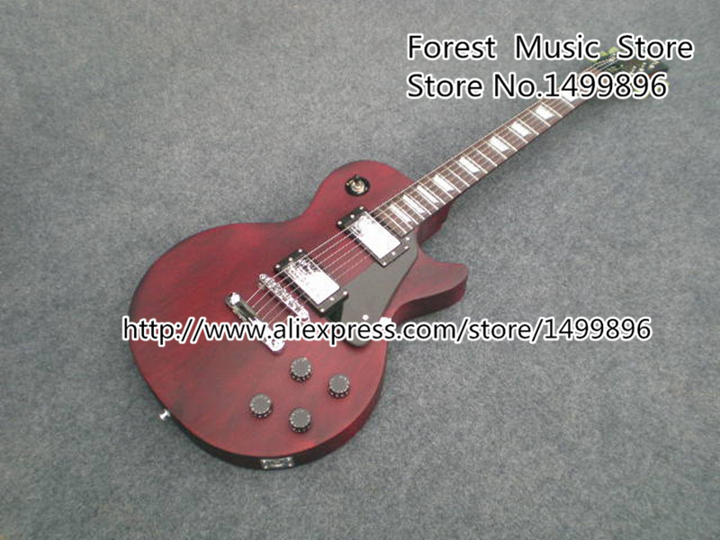 Reddish Brown Top Solid Guitar Body Rosewood Fingerboard LP Standard Electric Guitars China from Musical Instrument Factory lp standard electric guitar mahogany body flame maple top custom guitars more color sunburst free shipping