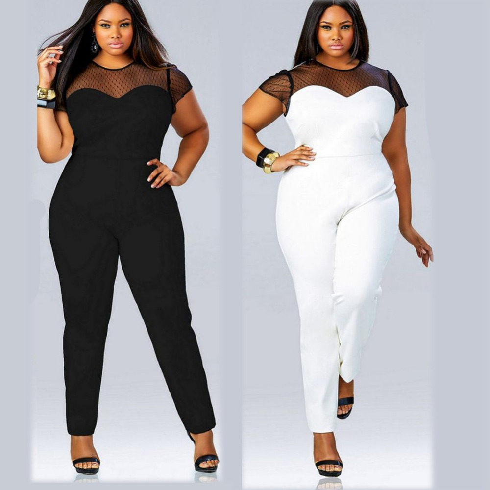 Black White Bodycon Jumpsuits 2016 Womens Short Sleeve Lace