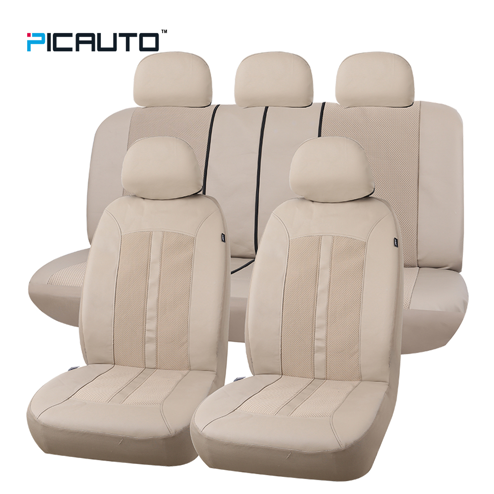 PIC AUTO Waterproof Car Seat Covers Leather &Mesh Textured Fabric 3D Splicing Universal Car Seat Cover Full Set With Side Airbag high quality new driver side airbag cover for glk w204 glk300 glk350 airbag cover dab cover with logo