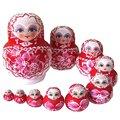 ABWE 10PCS Wooden Russian Nesting Dolls Braid Girl Traditional Matryoshka Dolls red