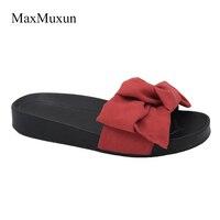 MaxMuxun 2017 New Fashion Womens Ladies Comfy Plain Rubber Slippers Flip Flop Bow Sliders Comfort Platform