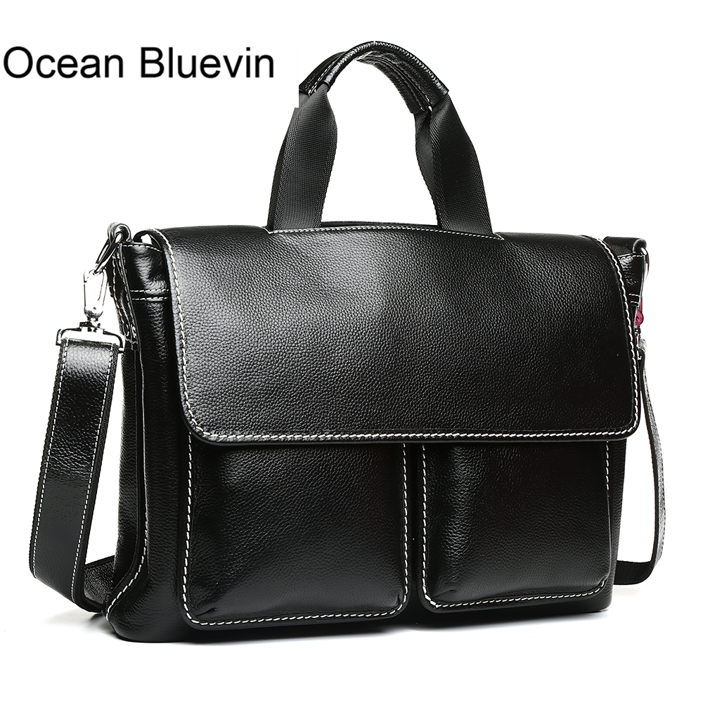 OCEAN BLUEVIN New Designer Handbags High Quality Vintage Genuine Leather Bag for Men Brand Shoulder Bags