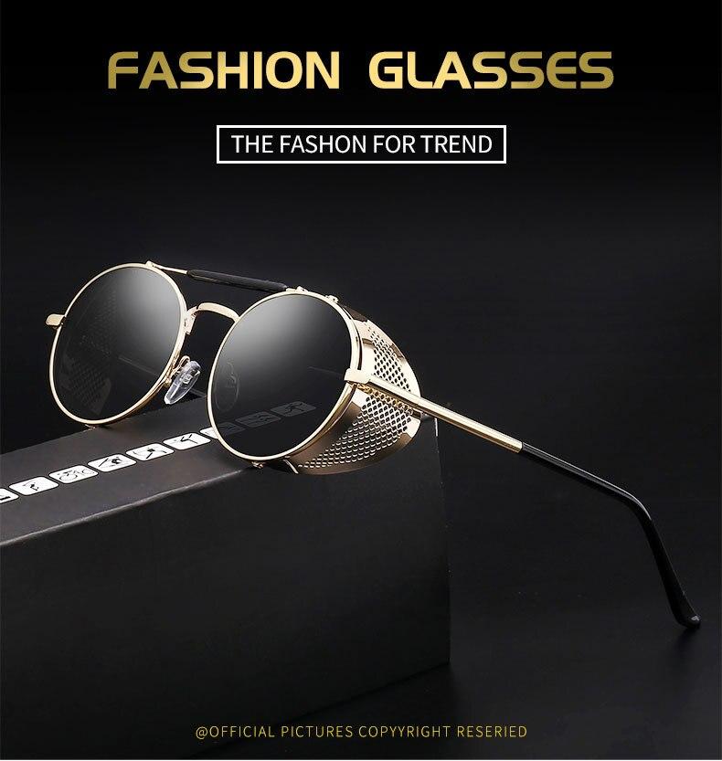 FRIDA Steampunk Sunglasses Women Men Vintage Retro Round Metal Sun Glasses UV400