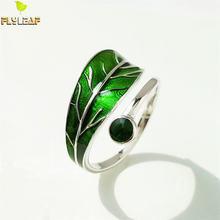 Женское Открытое кольцо flyleaf из серебра 100% пробы с зелеными