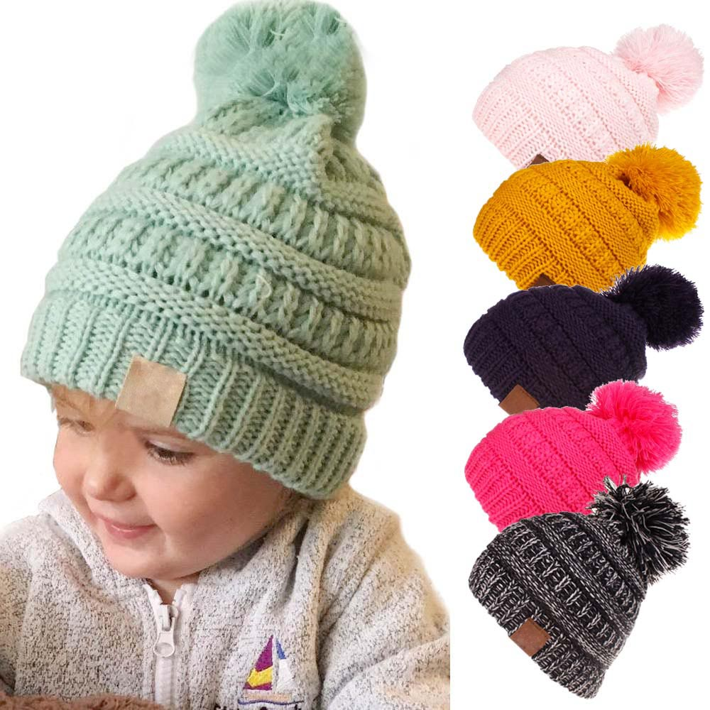 XDOMI Kids Autumn Winter Knitted Pom Pom Hat Children With Label   Skullies     Beanies   Caps Girls Candy Colors Winter Warm Caps