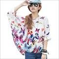 Plus Size 4XL 5XL 6XL Women Summer Chiffon Tops 2016 Camisas Femininas Batwing Sleeve Women's Floral Print Summer Blouses Shirts