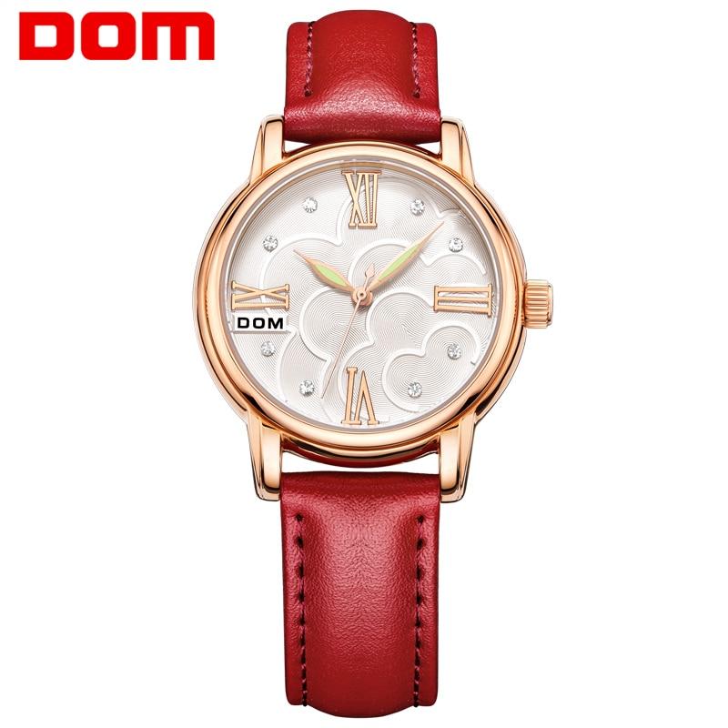 DOM women luxury brand waterproof style quartz leather watches women fashion watch 2016 reloj G-1018 dom women luxury brand watches waterproof style quartz ceramic nurse watch reloj hombre marca de lujo t 558
