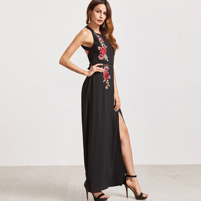 Summer Female Sexy Chiffon Beach Party Dresses Women Black Sexy Backless Dress Rose Embroidered Bandage Maxi Dress New Arrival