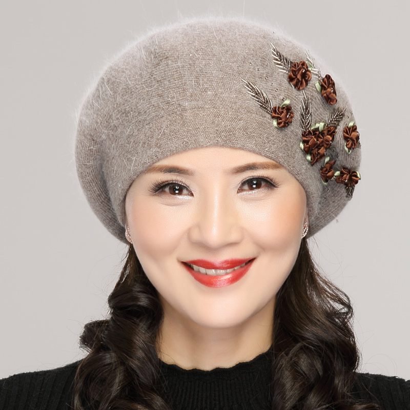 Beret Hat Middle Aged Old Female Winter Warm Fashion Cap Lady Rabbit Embroidery Mother Hats Elegant Casual Soft Women Caps H7151