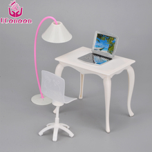 UCanaan Kids Toys Doll Furniture Desk+Lamp+Laptop+Chair Accessories for Barbie Doll Toys for Girls Play House juguetes