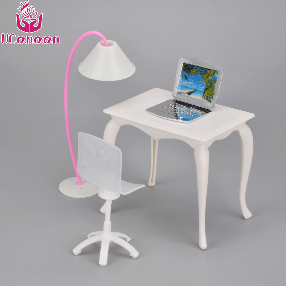 Ucanaan kids toys doll furniture desk lamp laptop chair for Schreibtisch accessoires
