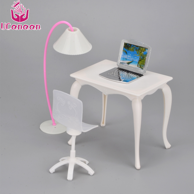 Ucanaan Kids Toys Doll Furniture Desk Lamp Laptop Chair Accessories For Barbie