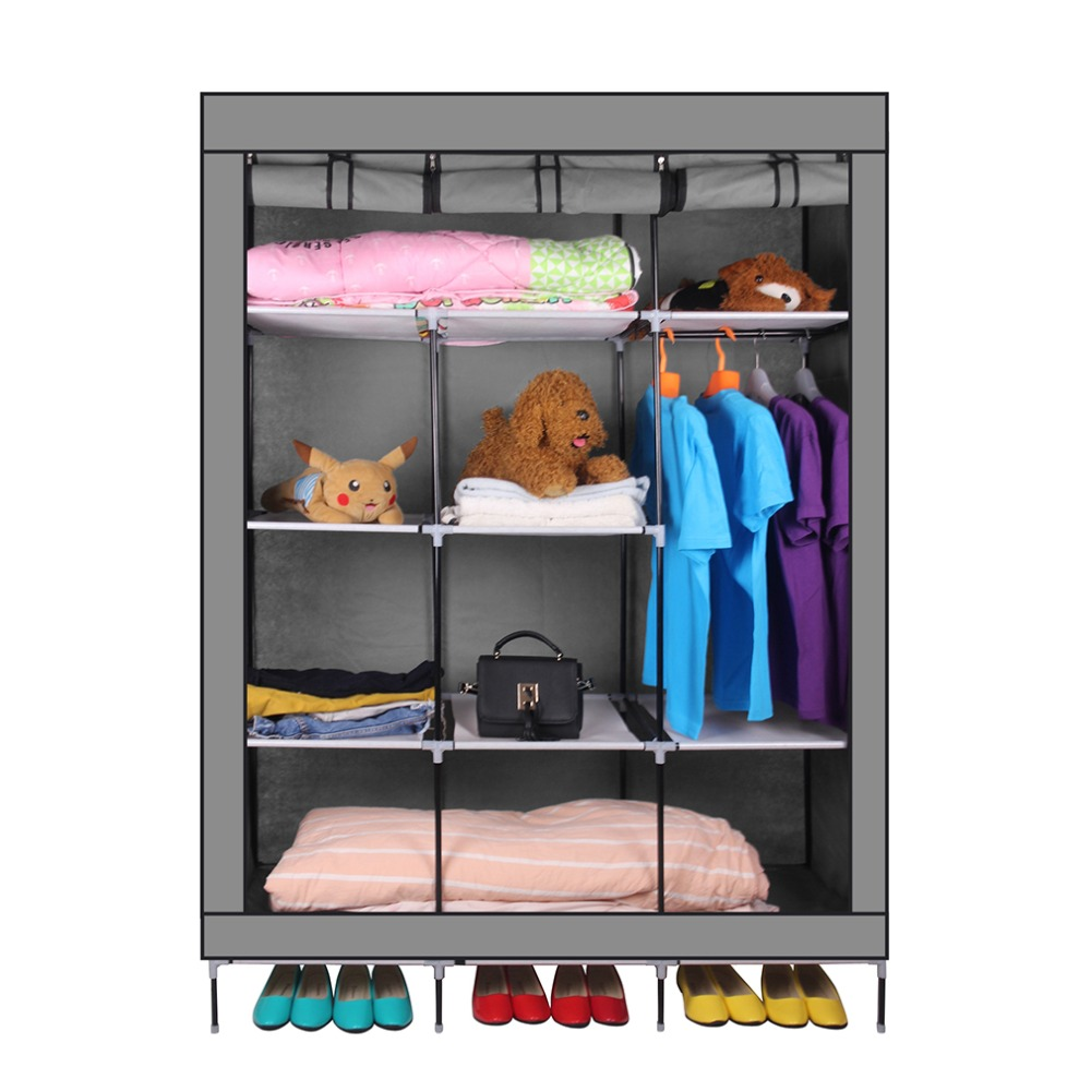 Clothes Storage 69 Inch Portable Closet Organizer Large Space Clothes Wardrobe Steel Tube Rack With Shelves Clothing Storage Closet