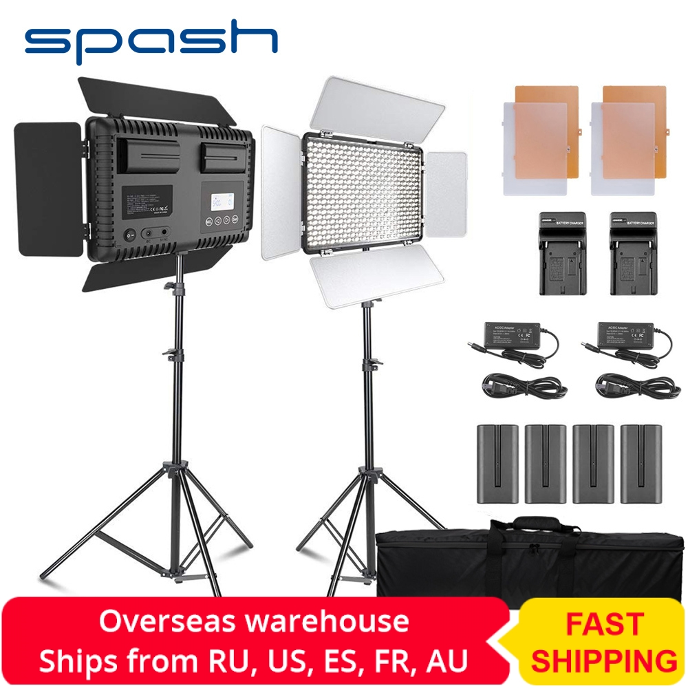 spash TL 600S 2 Sets Studio Light LED Video Light for Youtube Shoot 600 Beads 25W