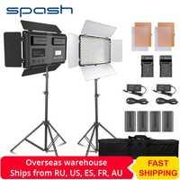 Spash TL-600S 2 ensembles Studio lumière LED lumière vidéo pour Youtube Shoot 600 perles 25W CRI90 Photo lampe avec 200cm trépied batterie