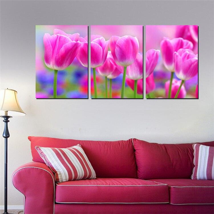 unidades art romantic pared tulipanes prpura roja foto de la pared del dormitorio decoracin colgando