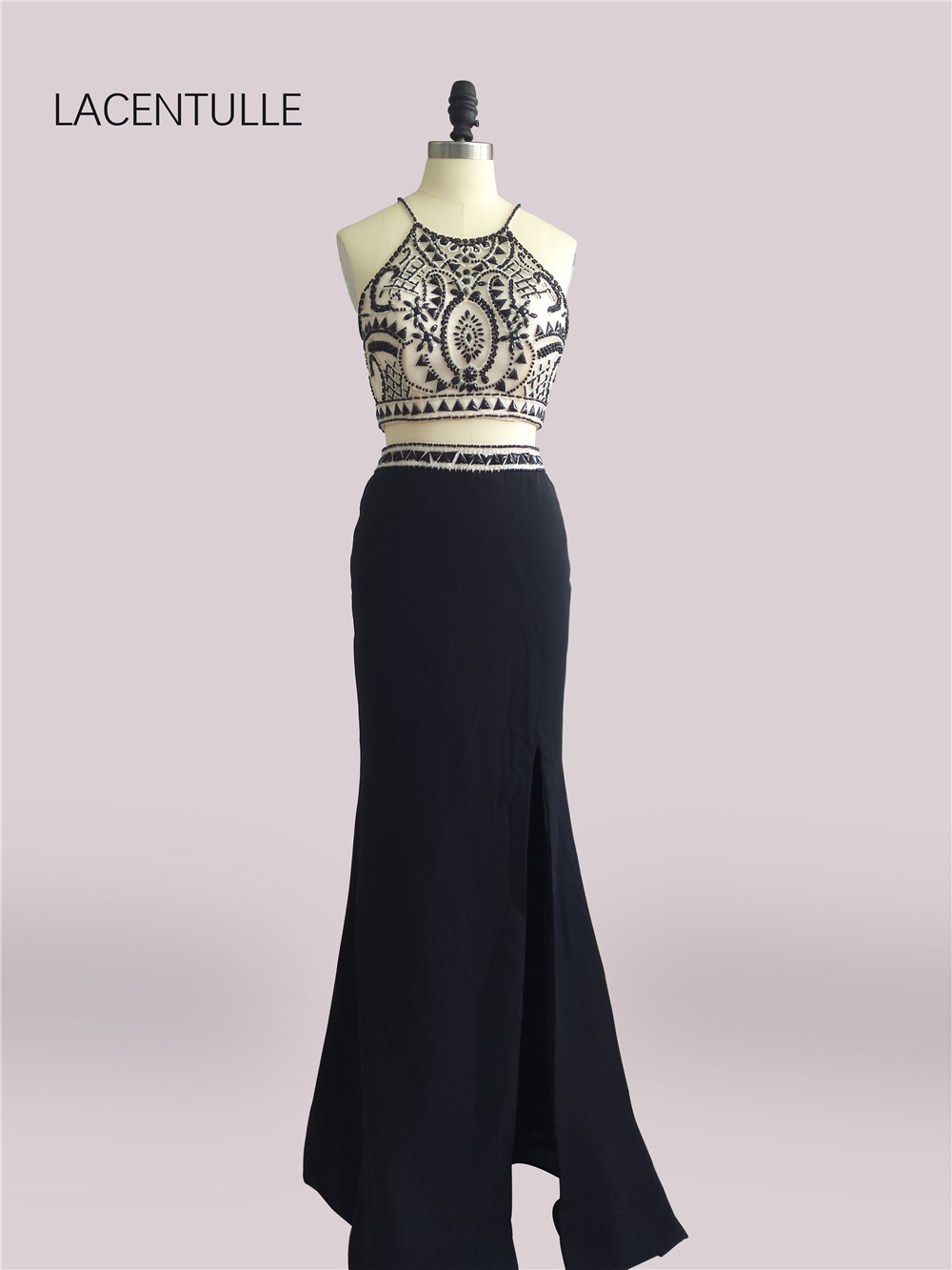 Beaded Black Two Pieces Prom Dresses with Beaded Crop Top Pageant Gowns with Split Skirt