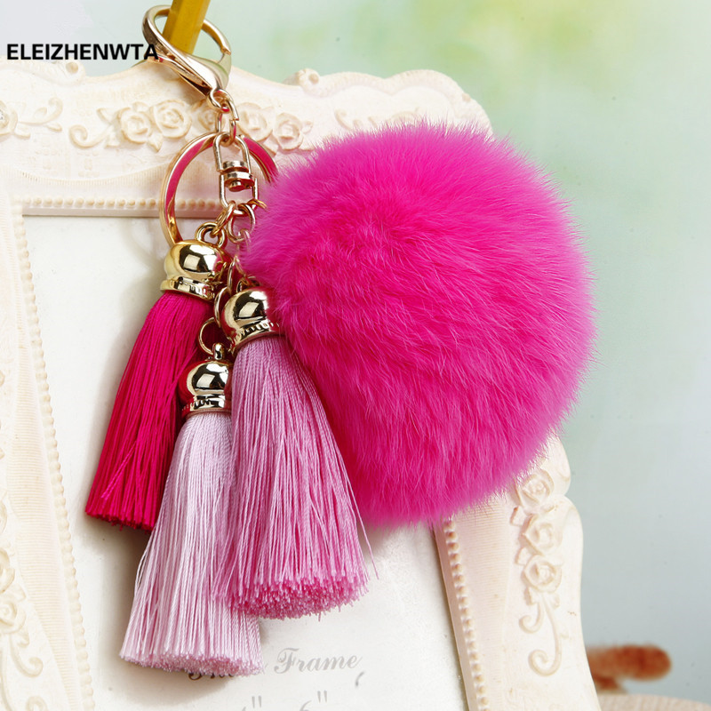 Detail Feedback Questions about Fur pom pom puff keychain fur ball bag  charms Ice Silk 3 tassels handbag charm key chain pompom fluffy Key Holder  Gift ... 735a3bcee