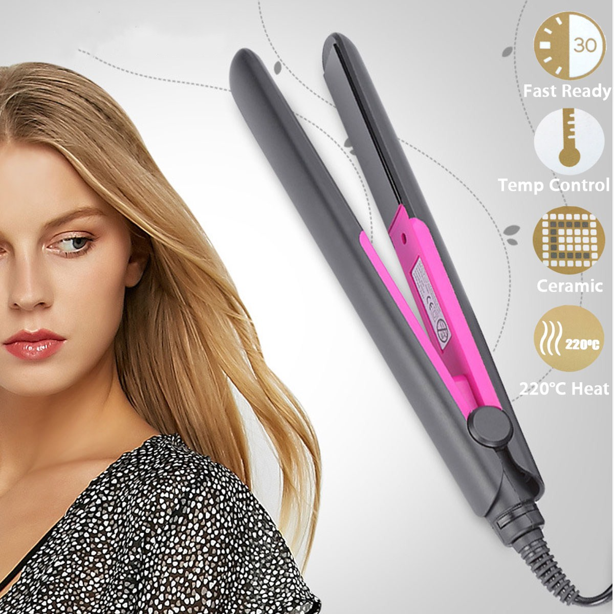 Fast Heating Flat Iron Straightening Irons Styling Tools Professional Ceramic Tourmaline Plate Perm Hair Straightener fiso original mini hair straightener iron tourmaline ceramic heating plate electronic hair styling tool travel essential eu plug