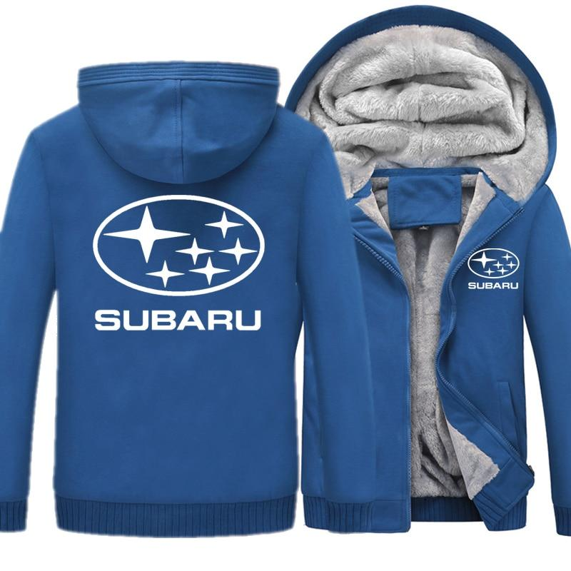 Subaru Brand Car Logo Men's Winter Warm Sweatshirts Print Thicken Hoodies Forman Casual Solid Coat Harajuku Fleece Hooded Jacke