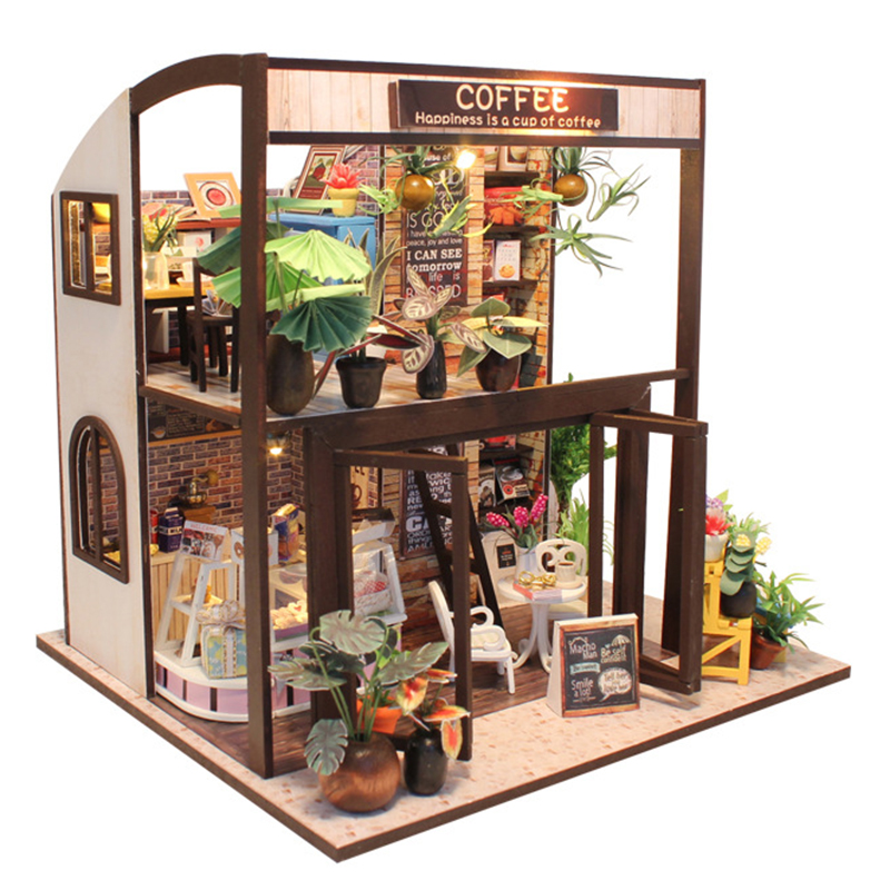 Doll House DIY Hand Assembled Miniature DIY Dollhouse with Furniture Decoration Wooden House Toys for Children Time Travel Cafe
