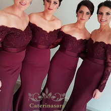 Mermaid / Trumpet Long Sleeves Floor Length Satin Bridesmaid Dress with Side Draping Sashes Off the Shoulder Sleeves