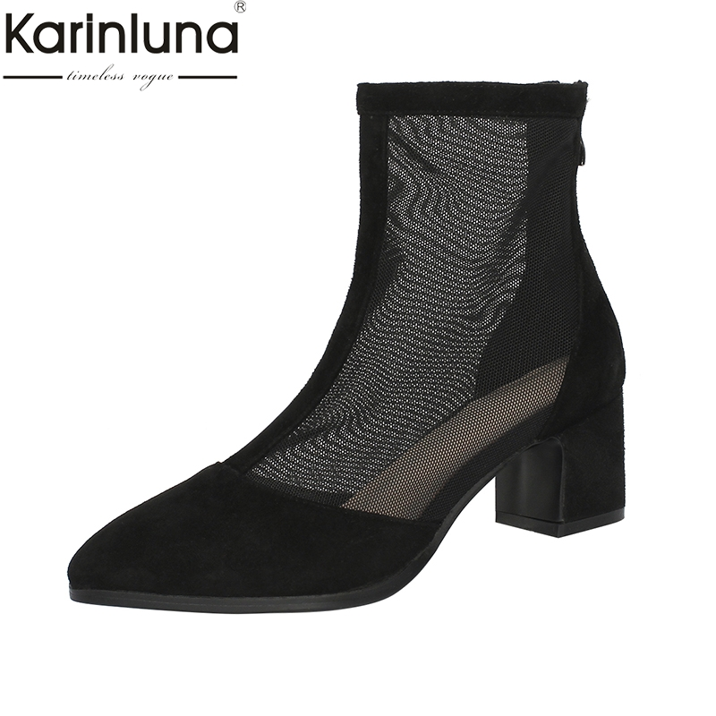 KarinLuna Pointed Toe Zipper Flock Chunky Heels 2019 Brand New womens Boots Classics Fashion Chic Style womens ShoesKarinLuna Pointed Toe Zipper Flock Chunky Heels 2019 Brand New womens Boots Classics Fashion Chic Style womens Shoes