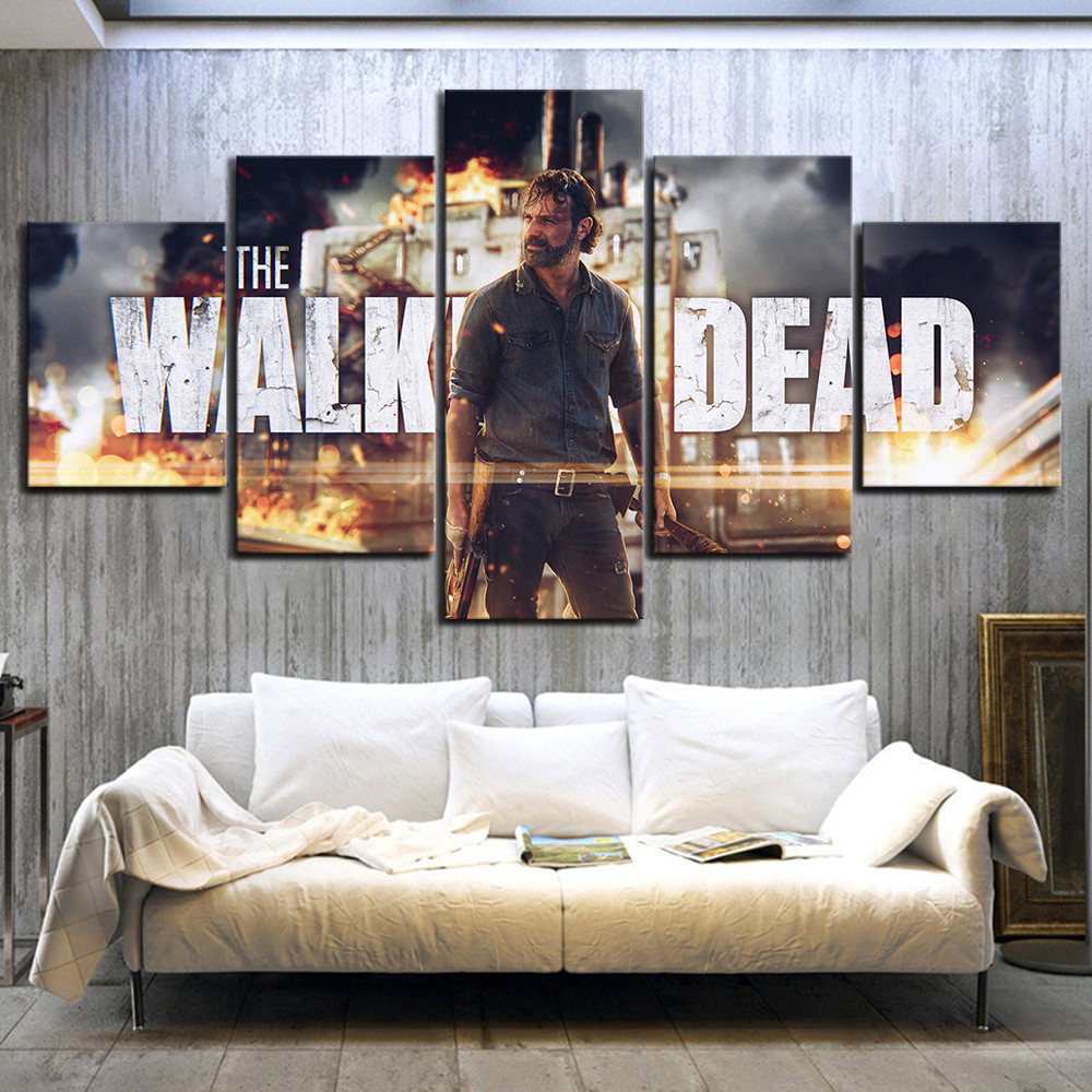 5 Piece The Walking Dead Season 8 Rick Movie Poster HD Wall Pictures for Living Room Decor