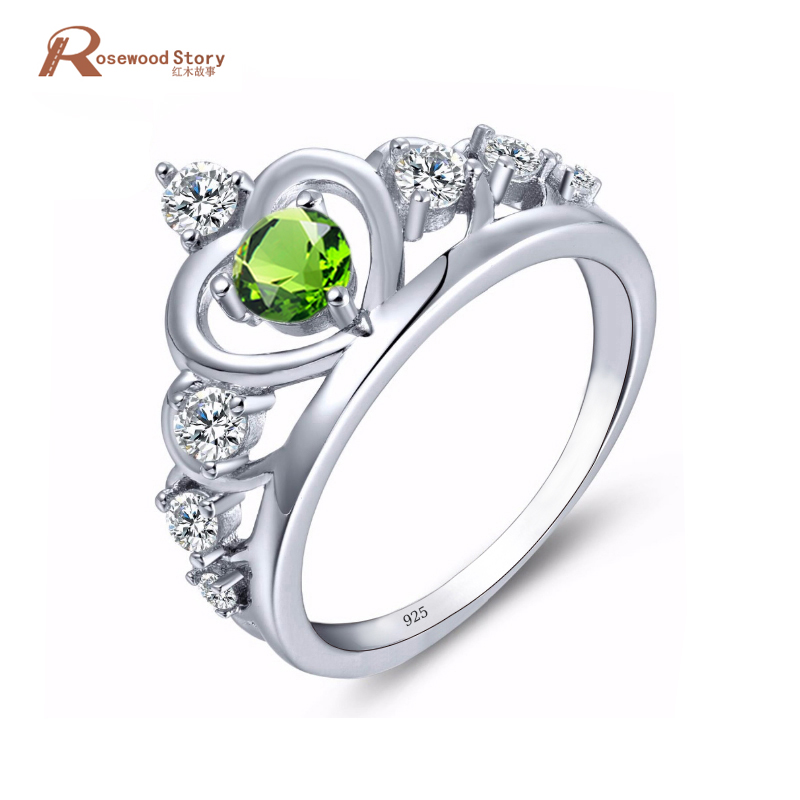 New Crown Rings for Women Bague 925 Silver Peridot Cubic Zircon Jewelry Heart Princess Crystal August