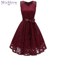 Short Lace Plus size Cocktail Dress 2019 Women Knee Length Formal Gown V Neck Cocktail Party Dresses Vestido Coquetel With Sash(China)