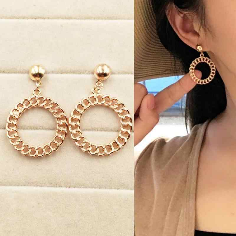 New Hot Exaggerated Chain Circle Earrings Hollow Preparation Metal Personality Earrings Earrings Female Jewelry Wholesale