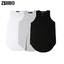 0f84563a8b3ab Justin Bieber Streetwear Sleeveless Summer Extended tank top men Curved Hem  Long line Tops Hip Hop