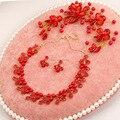 Красный жемчуг комплект ювелирных изделий свадебные украшения жемчужное ожерелье серьги красный ювелирные изделия диадемы свадебные аксессуары костюмы