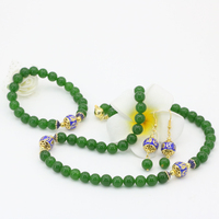 Klasyczny w stylu vintage styl naturalny Tajwan zielony jades kamienia chalcedon 8mm koraliki okrągłe kolczyki naszyjniki bransoletki zestaw biżuterii B2684
