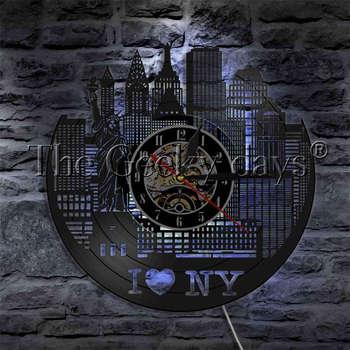 1Piece I Love New York Vinyl Record Wall Clock Statue Of Liberty City Landscape LED Night Lamp Home Decor Modern Wall Lamp