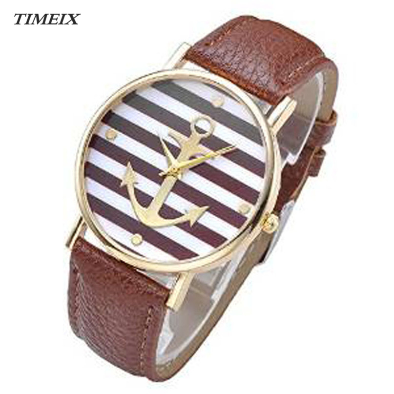 2017 New Women s Wristwatches Fashion Striped Anchor Style Coffee Leather Band Watch Female High Quality