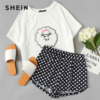 SHEIN Sheep Applique Tee And Polka Dot Shorts Pajamas Set Women Round Neck Short Sleeve Preppy