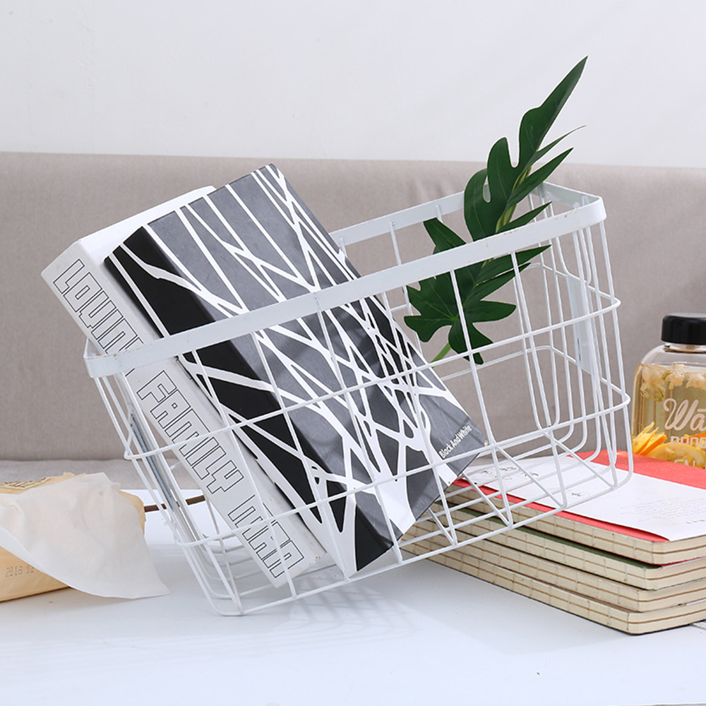 European Simple Storage Box White Wire Frame Rectangular Woven ...