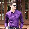 Высокое Качество 2016 Хлопок Мужчины Рубашка Бизнес Рубашка С Длинным Рукавом Печатный Платье Рубашки Марка Одежды Wt91350