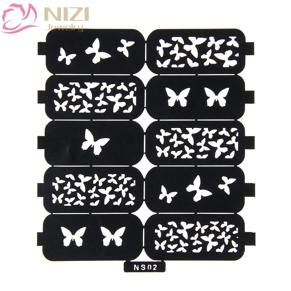 7 Styles DIY Multiple-Use Nail Art Hollow Template Stickers Reusable Stamping Tools Stamp Stencil Guide Makeup Manicure Tool solid color empire waist mermaid skirt