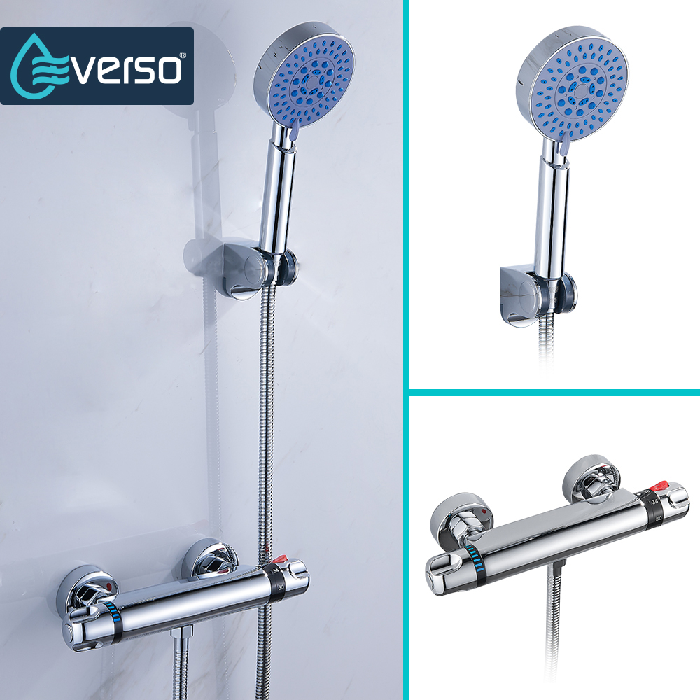 EVERSO 1 Set Thermostatic Mixer Shower Faucets Thermostatic Mixing Valve Bathroom Shower Set Thermostatic Shower Faucet copper shower room mixing valve shower cabin mixer faucet 2 3 4 5 way water out shower room mixing valve