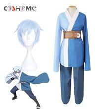 Coshome boruto naruto shippuden mitsuki azul perucas cosplay trajes quimono ternos para festa de halloween azul topos calças conjunto